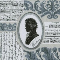 China New & Noteworthy Beethoven Symphony Cocktail Napkins - Silver on sale