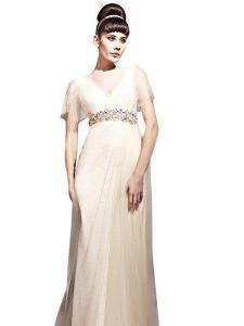 China Champagne Jeweled Chiffon Wedding Dress (81151) on sale