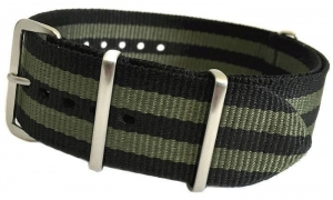 China 18mm Black Ballistic Nylon with Double Green Stripes and 4 Square Rings on sale