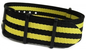 China 18mm Black Ballistic Nylon with Double Yellow Stripes and 4 Square PVD Rings on sale
