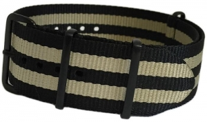 China 18mm Black Ballistic Nylon with Double Beige Stripes and 4 Square PVD Rings on sale