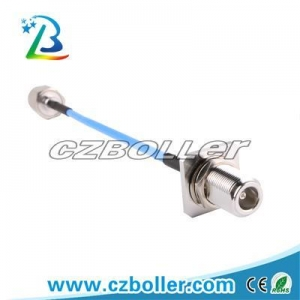 China RF Connector RG141 RF Cable with N Female Square Flange Panel to N Male Hex Nut Connector on sale