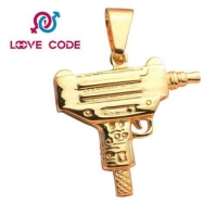 China 18k gold plated machine gun pendant for mens womens on sale