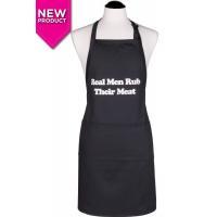 Men's Real Men Rub Their Meat Apron  Black