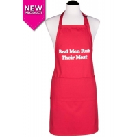 Men's Real Men Rub Their Meat Apron  Red