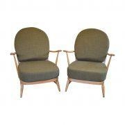 China A Pair of Vintage Ercol 203 Windsor Armchairs in Soft Green on sale