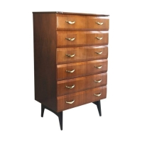 Mid Century Belgian Vintage Slim Bevelled Chest of Drawers with Brass Handles 1960s