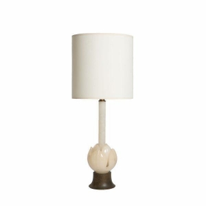 China Mid Century American Vintage Opaline and Brushed Metal Table Lamp with Faux Bamboo on sale