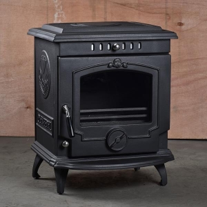 China HiFlame Classical European Style Freestanding Cast Iron Wood Burning Fireplace With Back Boiler HF24 on sale