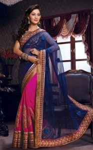 China Pink & Blue Designer Wedding Saree - GOM 7103 on sale