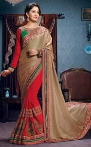 China Red & Beige Indian Wedding Saree - GOM 7102 on sale