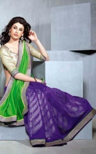 China Purple & Green Chiffon Saree - DIF 35814 on sale