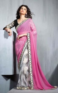 China Off White & Pink Chiffon Saree - DIF 35816 on sale