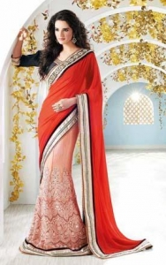 China Pink & Red Designer Lehenga Saree - SSS 4105 on sale