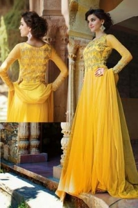 China Net Yellow Party Wear Gown - MAN 13354 on sale