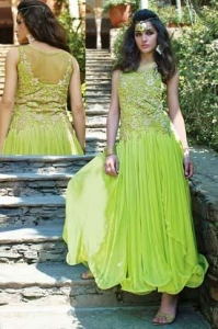 China Net Green Party Wear Gown - MAN 13357 on sale