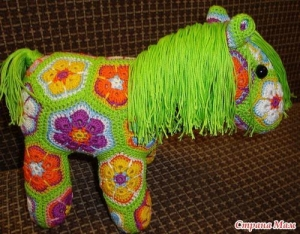 China Crochet little pony of african flower hexagon on sale