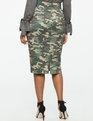 China Camo Button Detail Pencil Skirt on sale