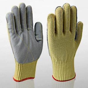 China Kevlar Cowhide Leather Cut Resistant Work Gloves on sale