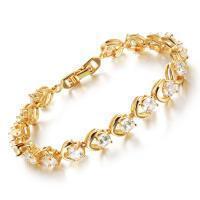 stainless_steel_bracelet 2015 best selling jewelry zircon tennis link yellow gold bracelet HKS462