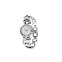Alloy Watch Case and Bracelet, CZ Stones on Watch Case ,applied Index White Shiny Dial with Batons a