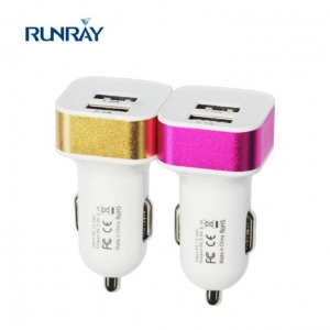 China Fast Charging Plastics Mobile Phone Charger Portable Dual USB Car Charger for android&iPhone on sale