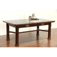 Oak 1900 Antique Oak Writing Desk, Library or Conference Table, Leather Top