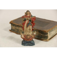 China Santo Virgin Mary late 1700's Sculpture, Hand Painted Miniature Statue on sale