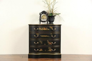 China Asian Chinese Black Lacquer Vintage Hall Chest, Dresser or Nightstand on sale
