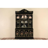 China Chinese Hand Painted Lacquer Vintage Breakfront China Display Cabinet on sale