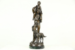 China Going Home Bronze Statue, Stan Johnson, Sculpture Signed 1985 on sale