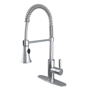 China Best Single Handle Pull Down Commercial Kitchen Faucets Taps with Sprayer for Home with Deck Plate on sale