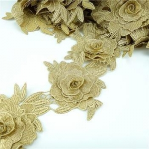 China french gold metallic decorative polyester wholesale wedding embroidery scallop bridal lace trim on sale