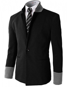 China H2h Men's Slim Fit Suits Casual One Button Flap Pockets Solid Blazer Jacket Black Us L/asia Xl (cmob on sale
