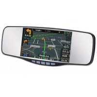 Clip-On Rearview Mirror with GPS Navigation and Bluetooth
