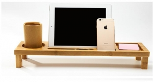China Functional Bamboo Office iPad Stand with Office Organizer on sale