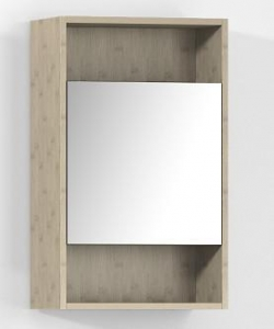 China Bamboo Furniture Carbonized Horizontal Bamboo Bathroom Medicine Cabinet with Silver Mirror on sale