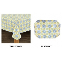 Mosaic Flannel Backed Indoor Outdoor Vinyl Table Linens by Lintex
