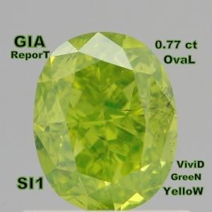 China GIA CERTIFIED 0.77 Ct Fancy Vivid Yellow Green Oval Loose Diamonds L4056 on sale