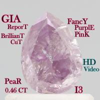 China GIA CERTIFIED 0.46 Ct Fancy Intense Purple Pink Pear Cut Loose Diamonds L3680 on sale