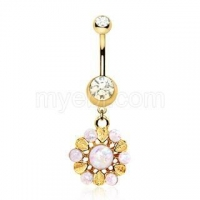 Gold Plated White Synthetic Opal Lavish Blossom Dangle Navel Ring - New Arrival