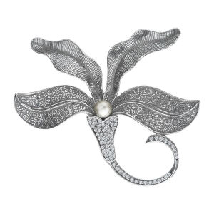 China Van Kempen Art Nouveau Pearl Brooch with Swarovski Crystal in Sterling SIlver on sale