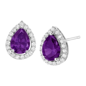 China Purple & White Cubic Zirconia Pear Stud Earrings - Designers on sale