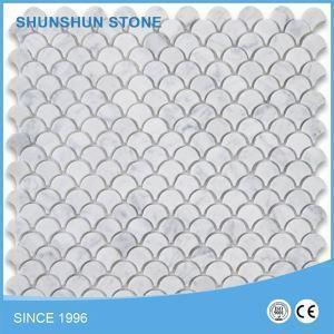China Italian Calacatta Marble Fish Scale Fan Shaped Mosaic Tile Pattern Polished on sale