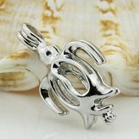 China 10pcs turtle shaped silver toned copper pendant cage on sale