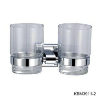 China Bathroom Double Glass Toothbrush Tumbler Holder on sale