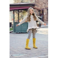 China Stylish Long Sleeve Grey Striped Back Ruffle Girls Tshirt on sale