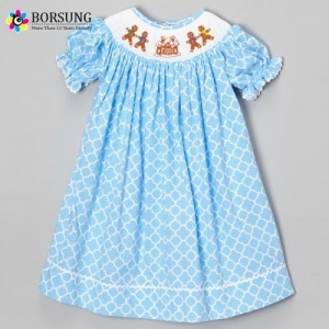 China Blue Quatrefoil Machine Smocked Bishop Dresses on sale
