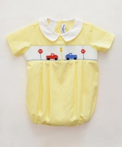 China Gorgeous Yellow Newborn Girl Clothes Smock Bubbles on sale