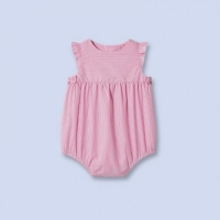 100% Cotton Red Small Striped Baby Girls Romper